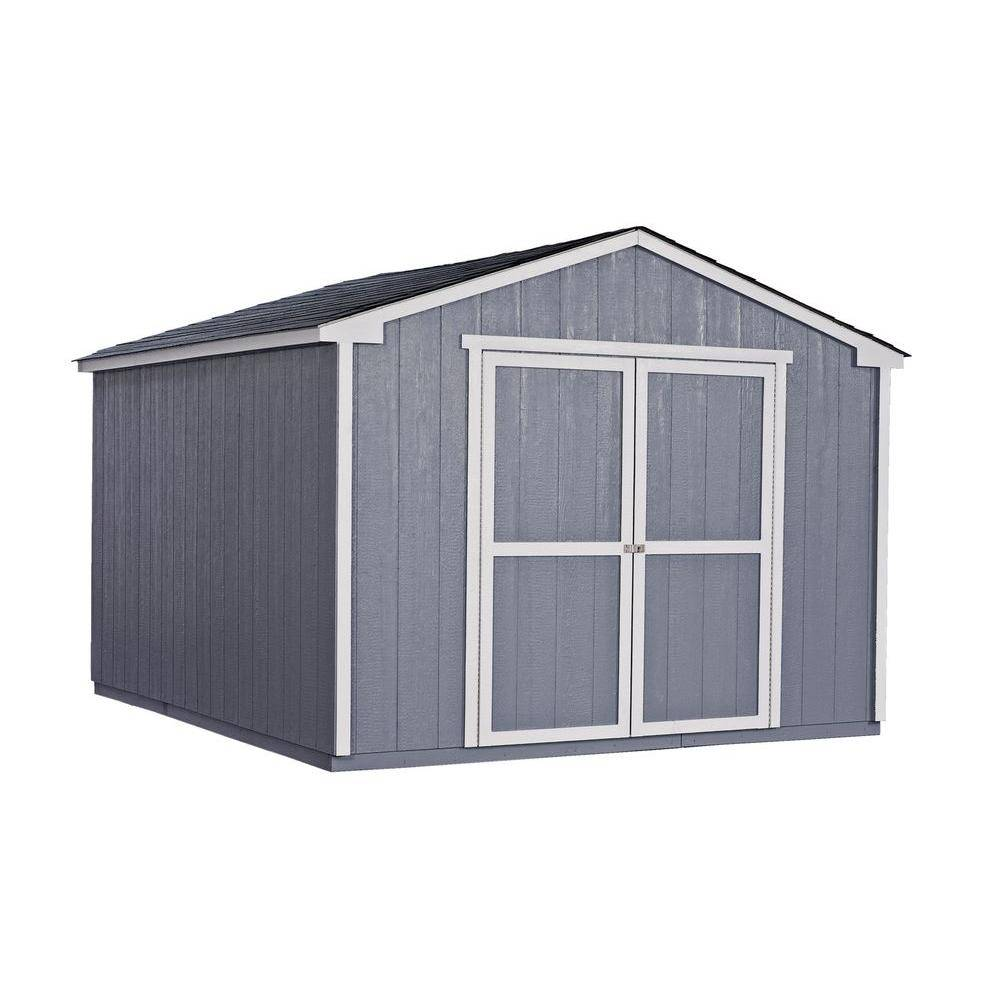 Handy Home Products Cumberland 10 ft. x 12 ft. Wood Shed Kit with Floor Frame, Multi