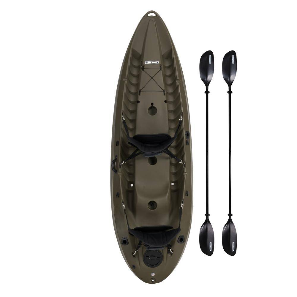 Lifetime OD Green Sport Fisher Kayak with Paddles and Backrest