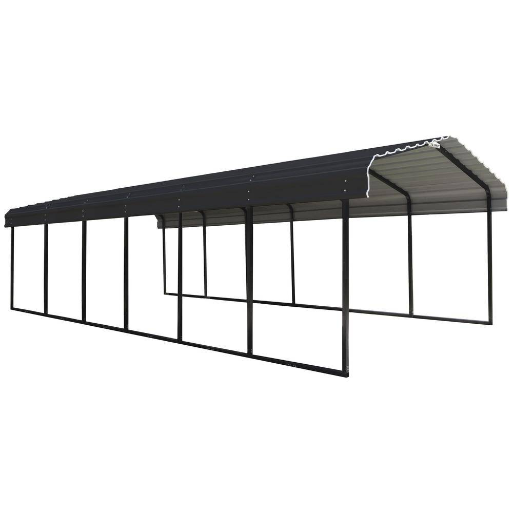 Arrow 12 ft. W x 29 ft. D Charcoal Galvanized Steel Carport, Car Canopy and Shelter