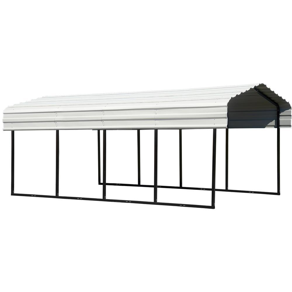 Arrow 10 ft. W x 20 ft. D Eggshell Galvanized Steel Carport, Car Canopy and Shelter