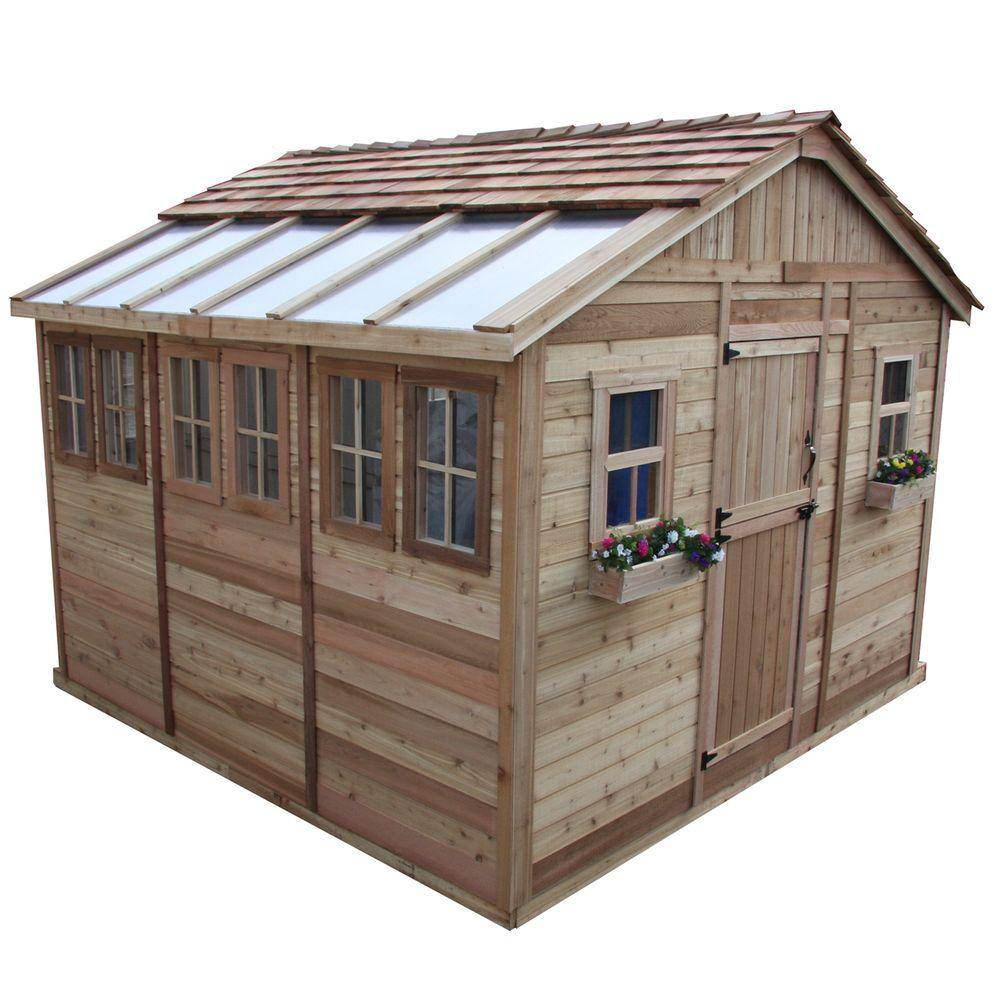 Outdoor Living Today Sunshed 12 ft. x 12 ft. Western Red Cedar Garden Shed, Browns / Tans