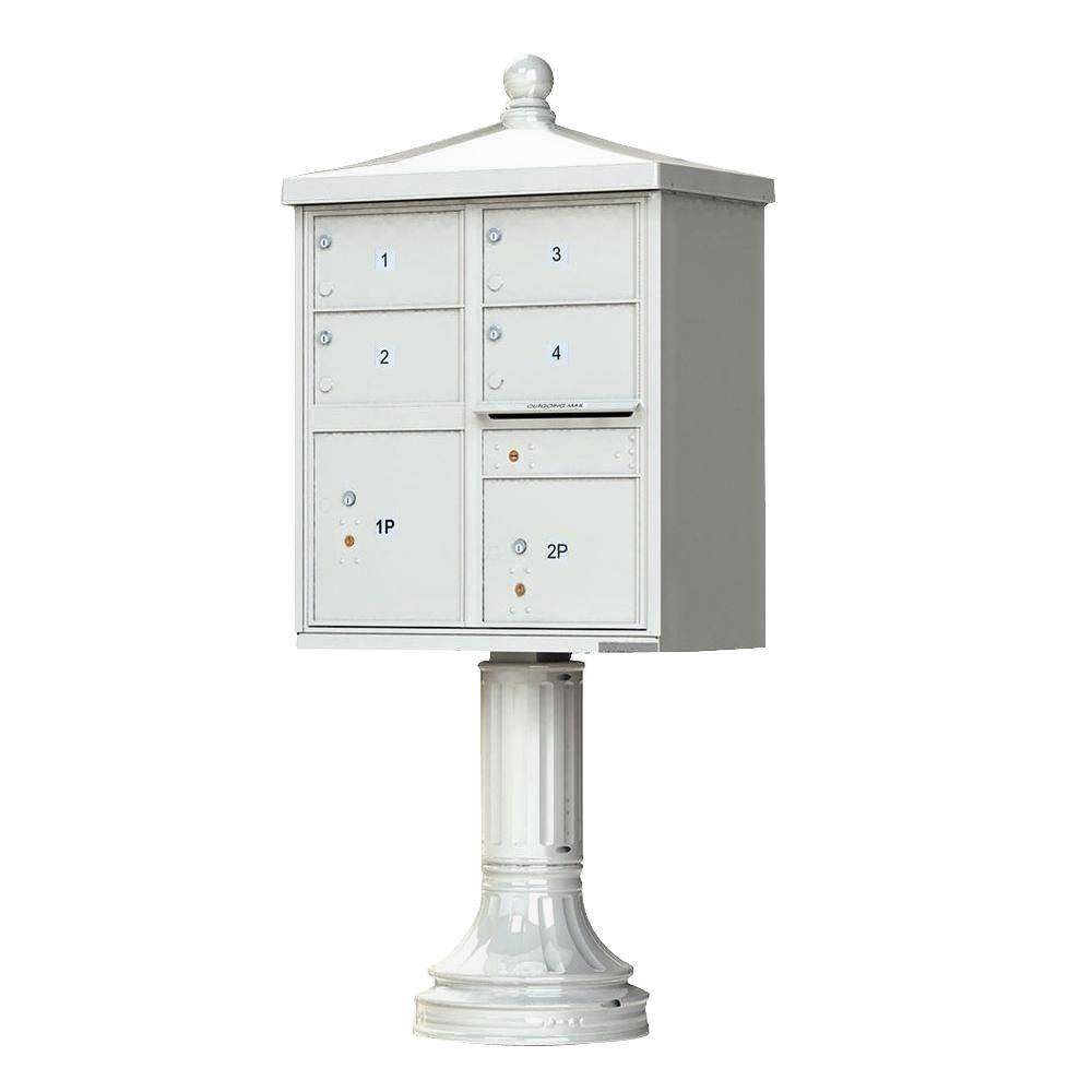 Florence 1570 Series 4-Large Mailboxes, 1-Outgoing, 2-Parcel Lockers, Vital Cluster Mailbox with Vogue Traditional Accessories, Postal Gray