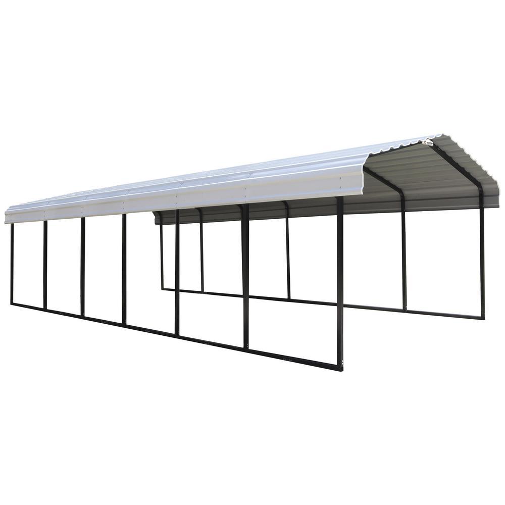 Arrow 12 ft. W x 29 ft. D Eggshell Galvanized Steel Carport, Car Canopy and Shelter