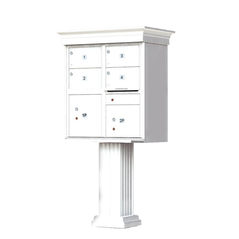 Florence 1570 4-Large Mailboxes 2-Parcel Lockers 1-Outgoing Vital Cluster Box Unit with Vogue Classic Accessories, White Powder Coat