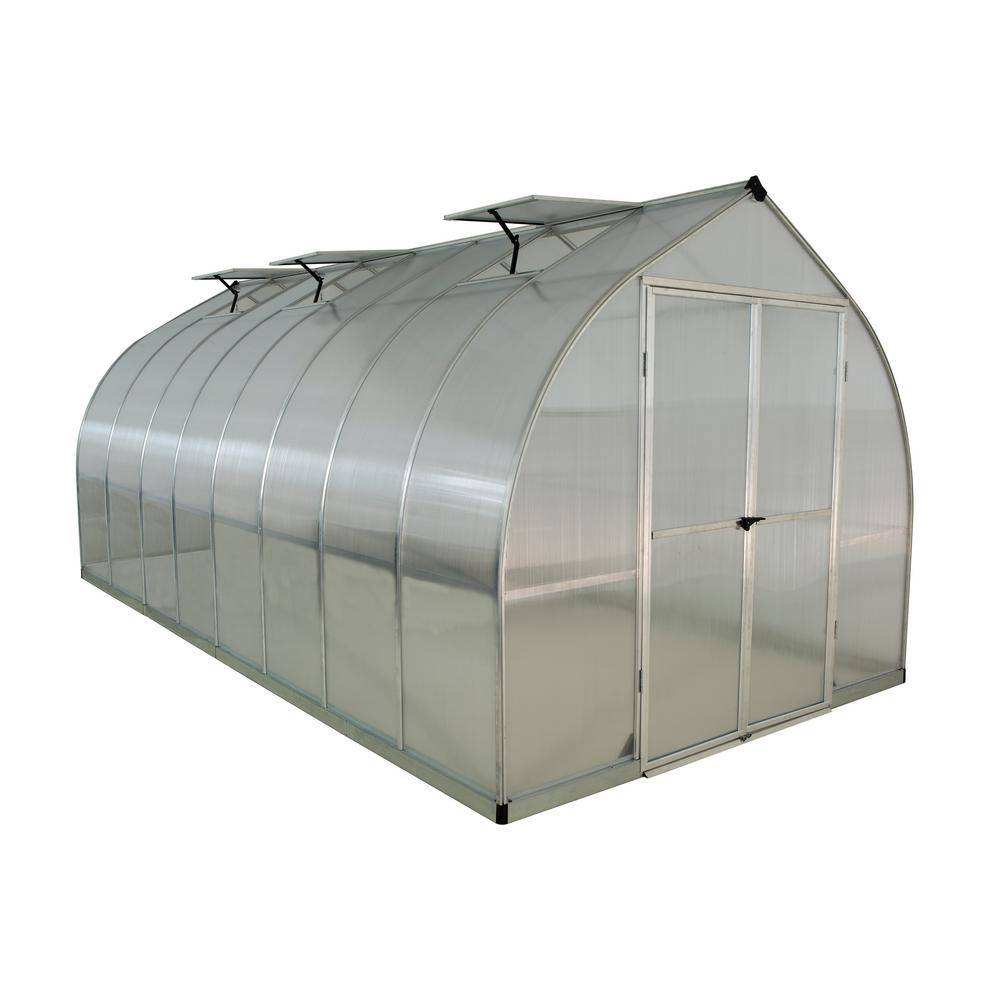 Palram Bella 8 ft. x 16 ft. Silver Polycarbonate Greenhouse