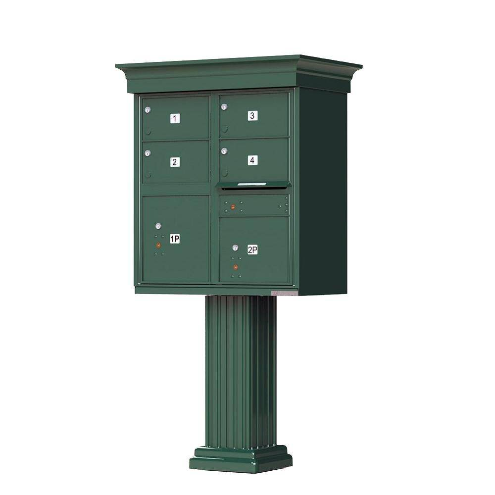 Florence 1570 4-Large Mailboxes 2-Parcel Lockers 1-Outgoing Vital Cluster Box Unit with Vogue Classic Accessories, Forest Green Powder Coat