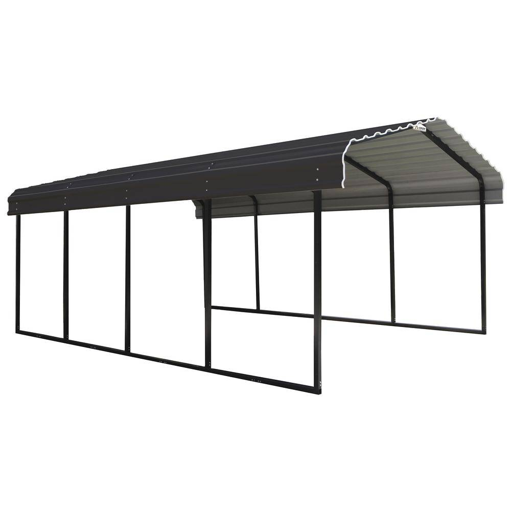 Arrow 12 ft. W x 20 ft. D Charcoal Galvanized Steel Carport, Car Canopy and Shelter