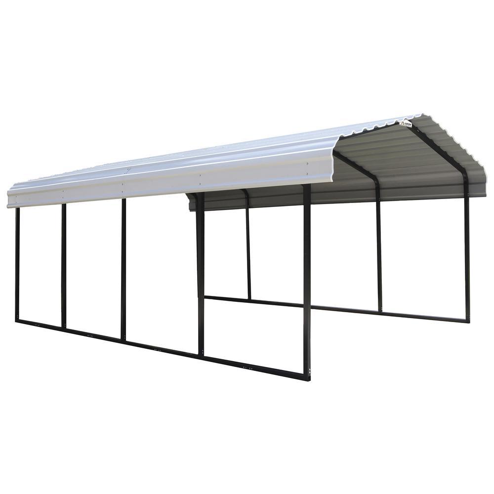 Arrow 12 ft. W x 20 ft. D Eggshell Galvanized Steel Carport, Car Canopy and Shelter