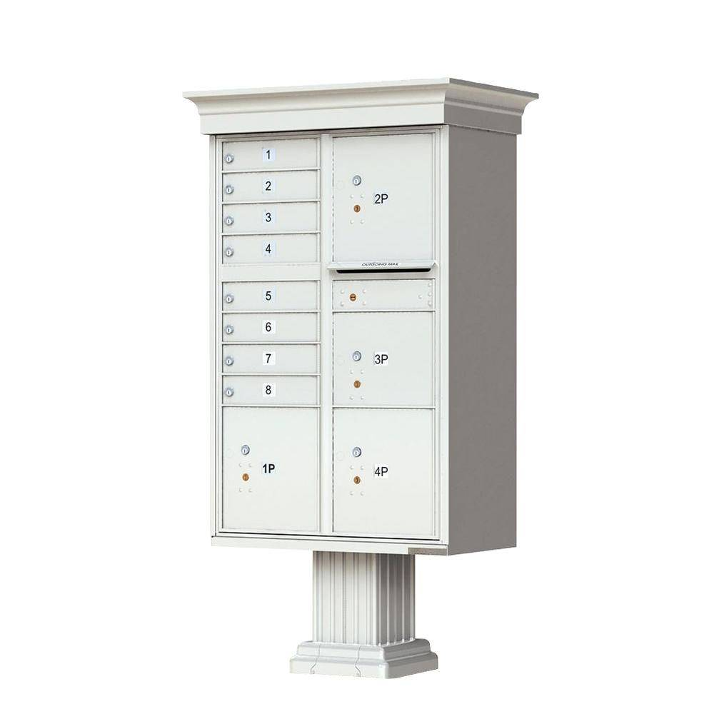 Florence 1570 Series 8-Mailboxes, 1-Outgoing, 4-Parcel Lockers, Vital Cluster Box Unit with Vogue Classic Accessories, Postal Gray