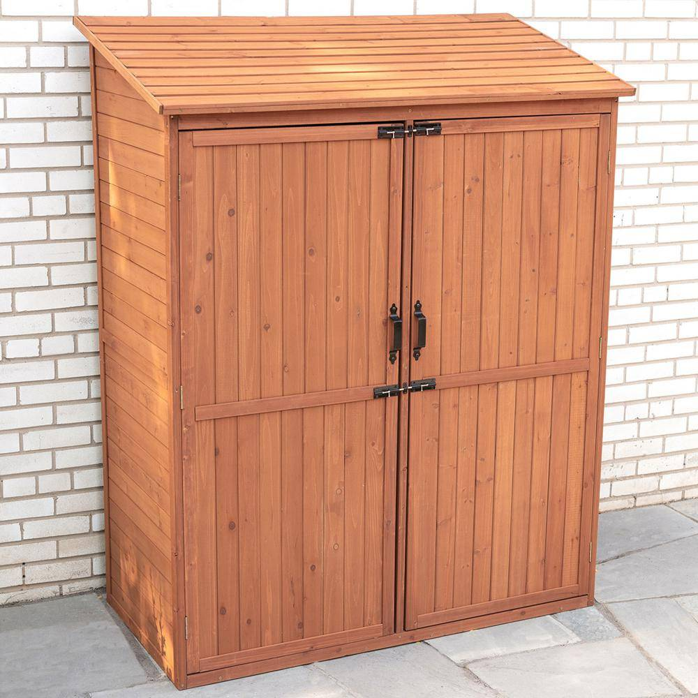 Leisure Season 59 in. W x 29 in. D x 72 in. H Medium Brown Cypress Storage Shed with Pull Out Crates, Browns / Tans