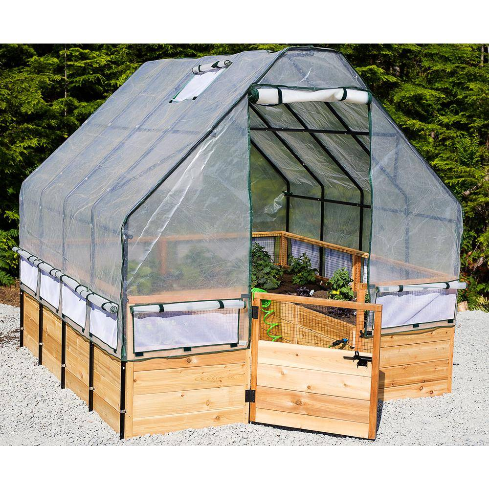 Outdoor Living Today 8 ft. x 8 ft. Garden in a Box with Greenhouse Cover, Natural Wood