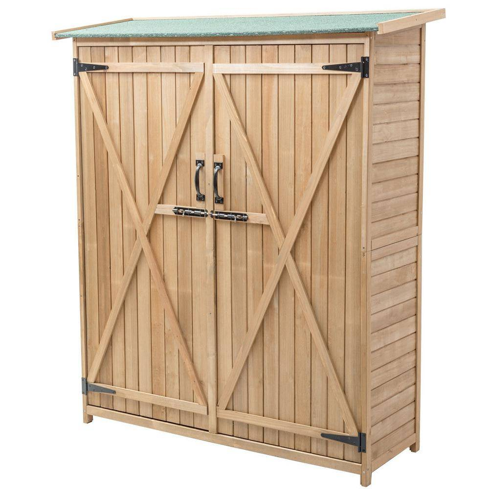 Boyel Living 64 in. Wooden Storage Shed Outdoor Garden Fir Wood Cabinet, Clear