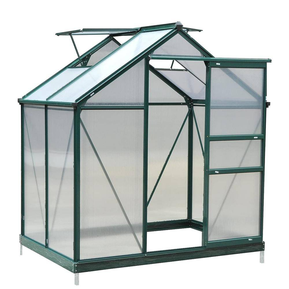 YOUKE FURNITURE HOME LLC 6 ft. W x 4 ft. D Aluminum Polycarbonate Greenhouse in Green
