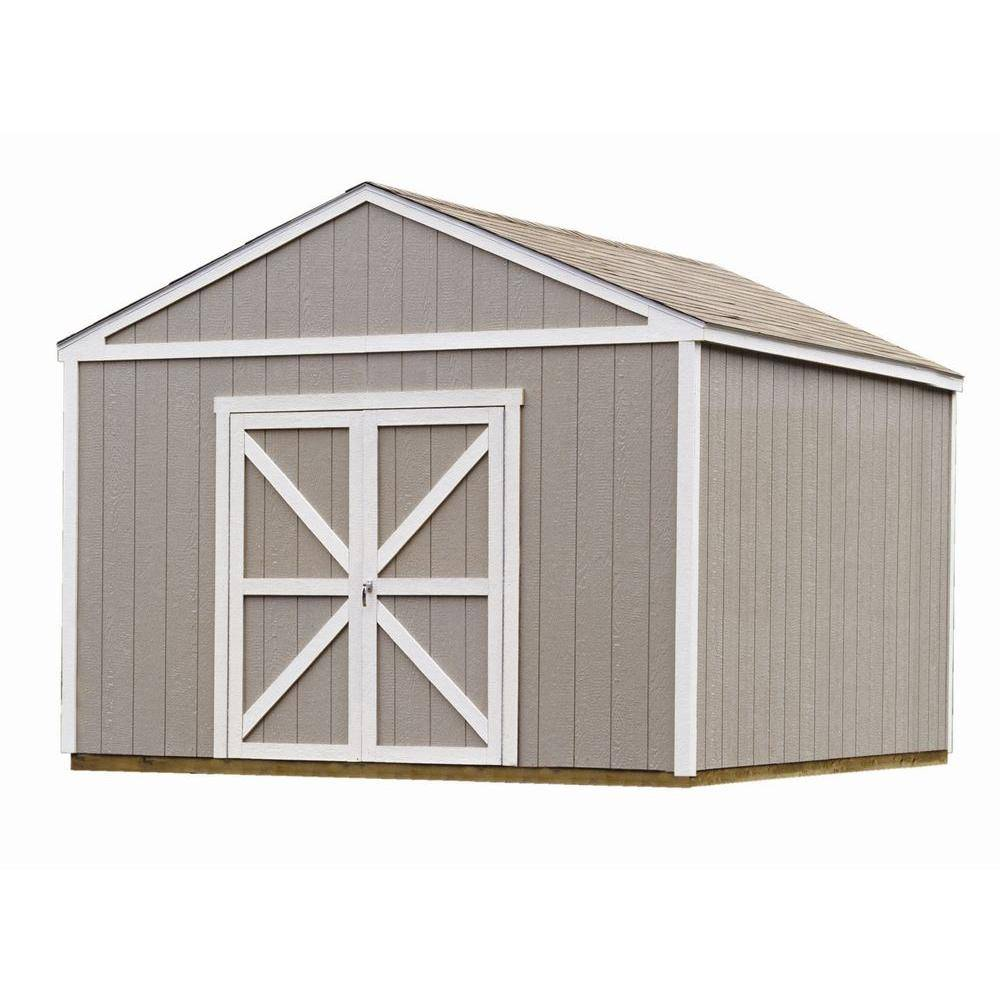 Handy Home Products Columbia 12 ft. x 12 ft. Wood Storage Building Kit with Floor, Multi