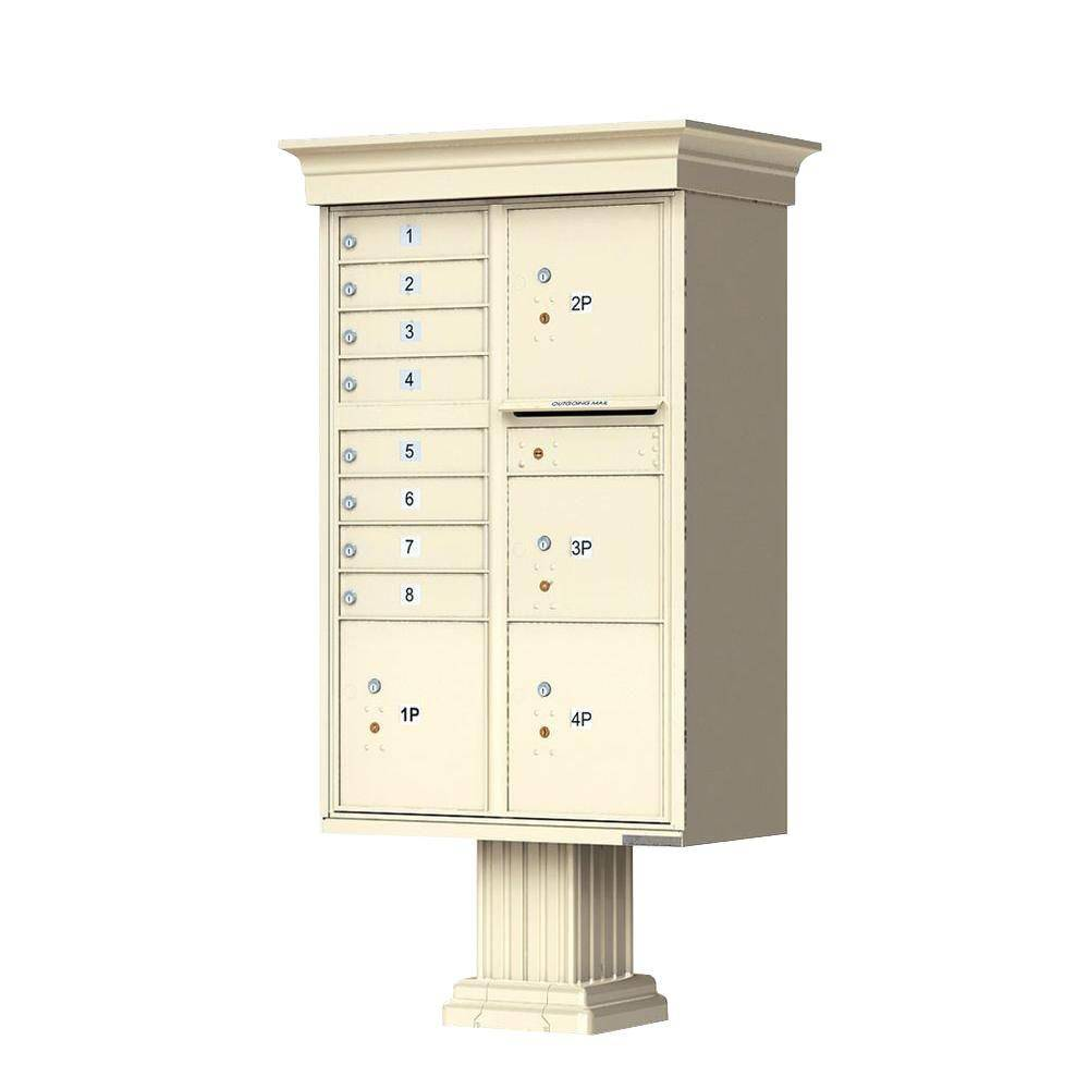 Florence 1570 Series 8-Mailboxes, 1-Outgoing, 4-Parcel Lockers, Vital Cluster Box Unit with Vogue Classic Accessories, Sandstone Pebble