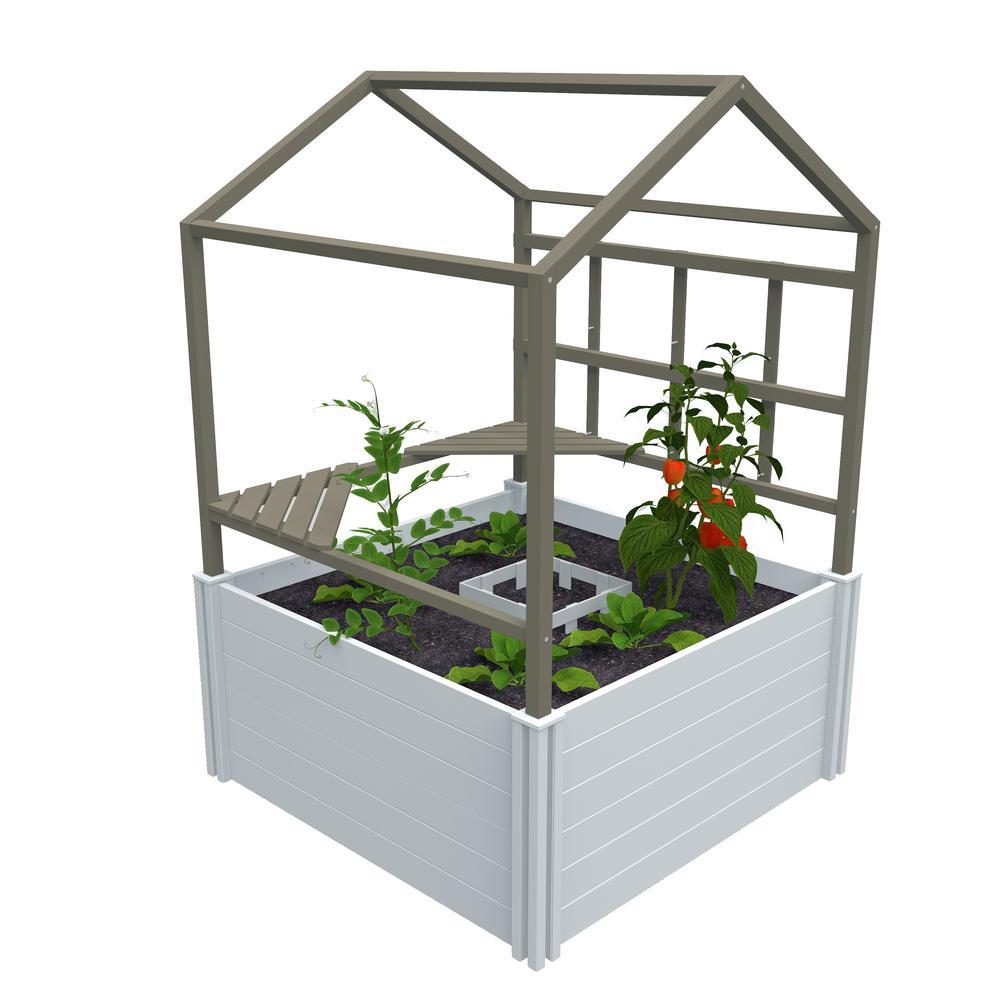 VITA Keyhole Garden with Garden Rack and Green house 4ft' x 4ft' White Vinyl Raised Garden