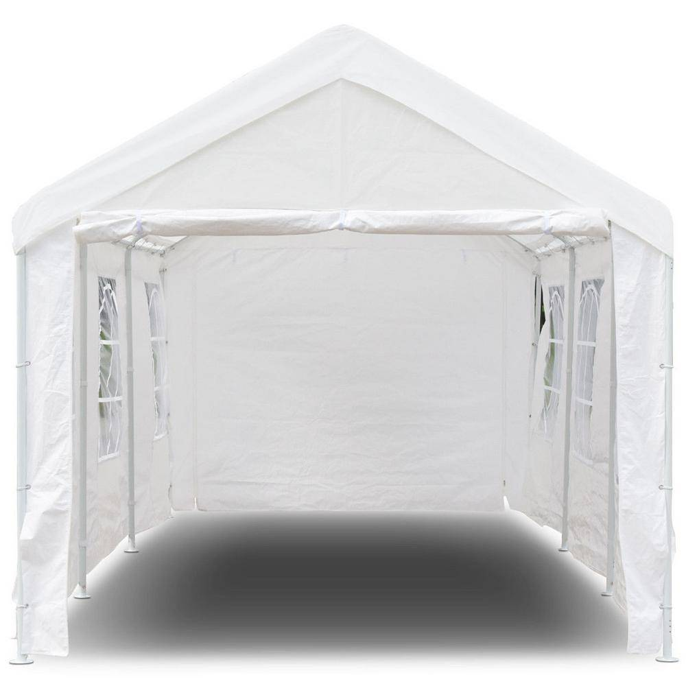 CASAINC 20 ft. x 10 ft. White Heavy-Duty Party Wedding Car Canopy Tent