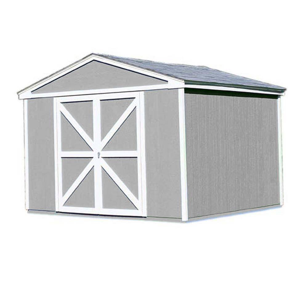 Handy Home Products Somerset 10 ft. x 10 ft. Wood Storage Building Kit with Floor, Multi