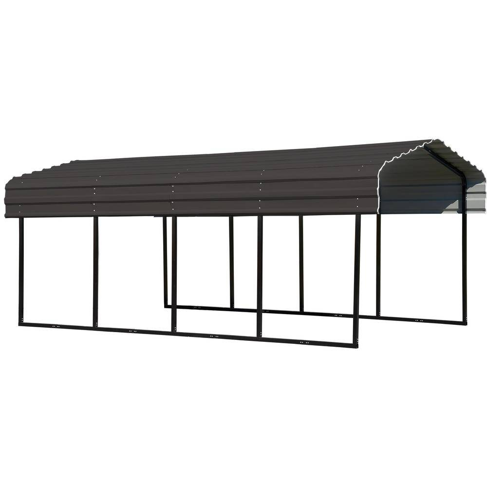 Arrow 10 ft. W x 20 ft. D Charcoal Galvanized Steel Carport, Car Canopy and Shelter