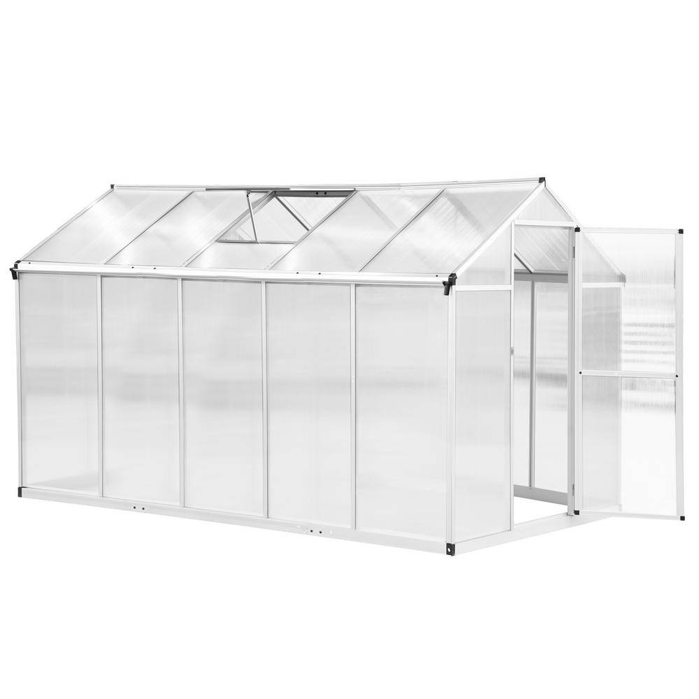 Outsunny 6.25 ft. x 10 ft. Stable Outdoor Walk-In Garden Greenhouse with Roof Vent for Plants, Herbs and Vegetables