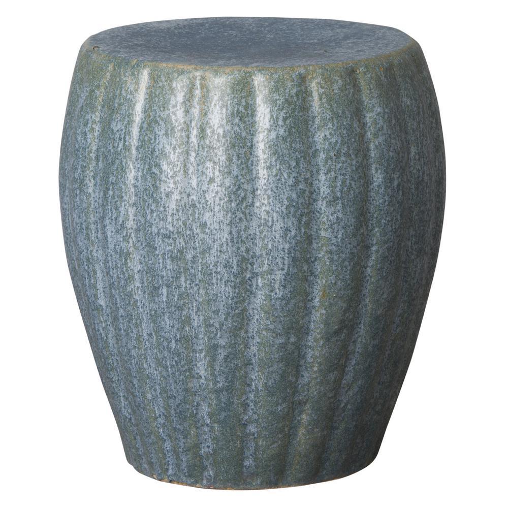 Emissary Ridge Pearl Azure Ceramic Indoor/Outdoor Garden Stool
