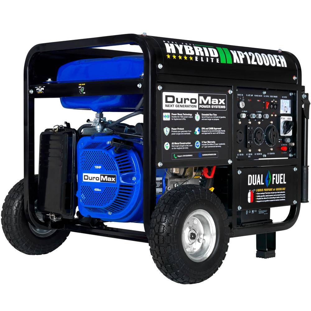 DUROMAX 12000-Watt/9500-Watt Electric Start Dual Fuel Gas Propane Portable Generator, Home Back Up/RV Ready, 50 State Approved