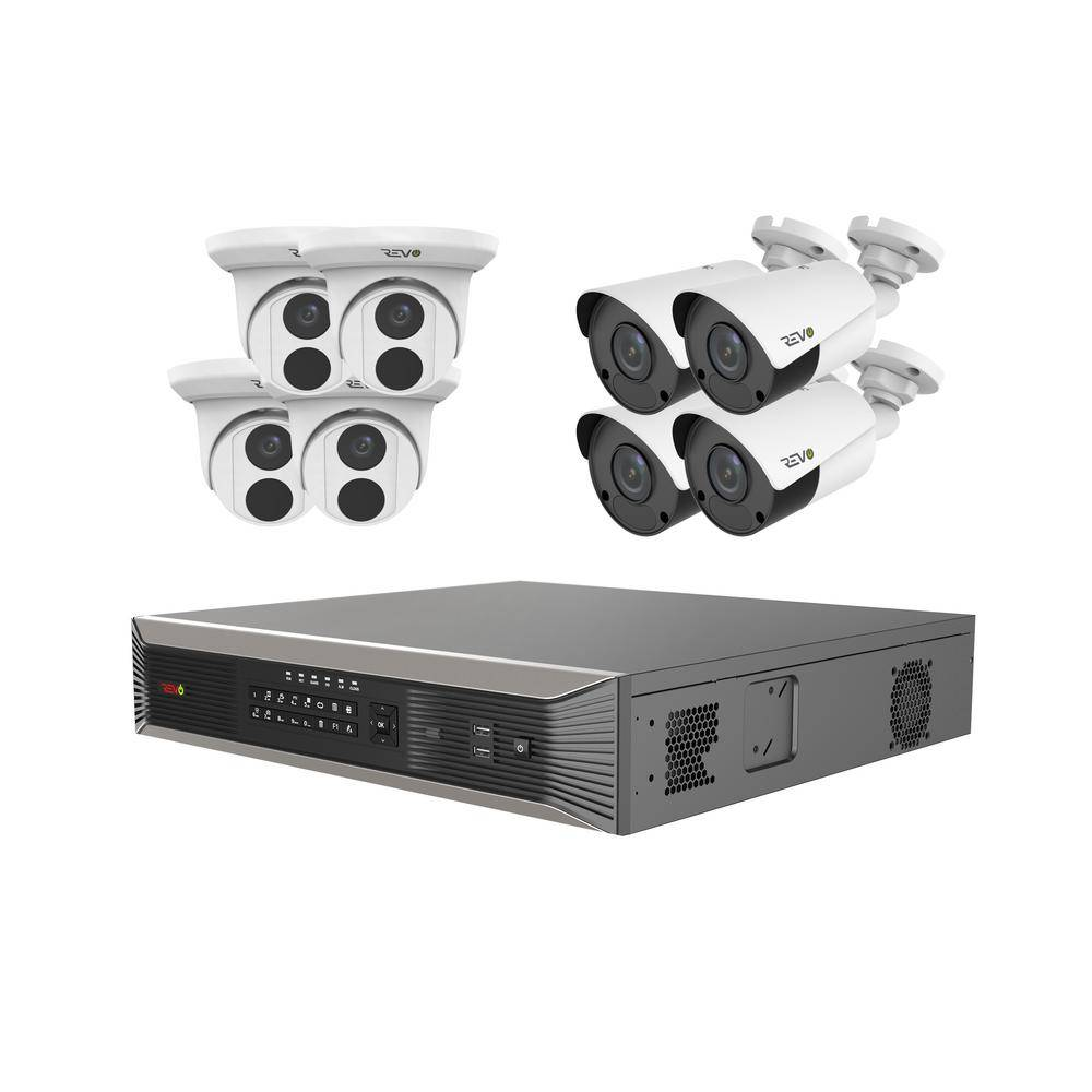 Revo Ultra Plus Commercial Grade 16-Channel 4K 4TB Smart NVR Surveillance System with (8) 4K 8MP Indoor/Outdoor Cameras