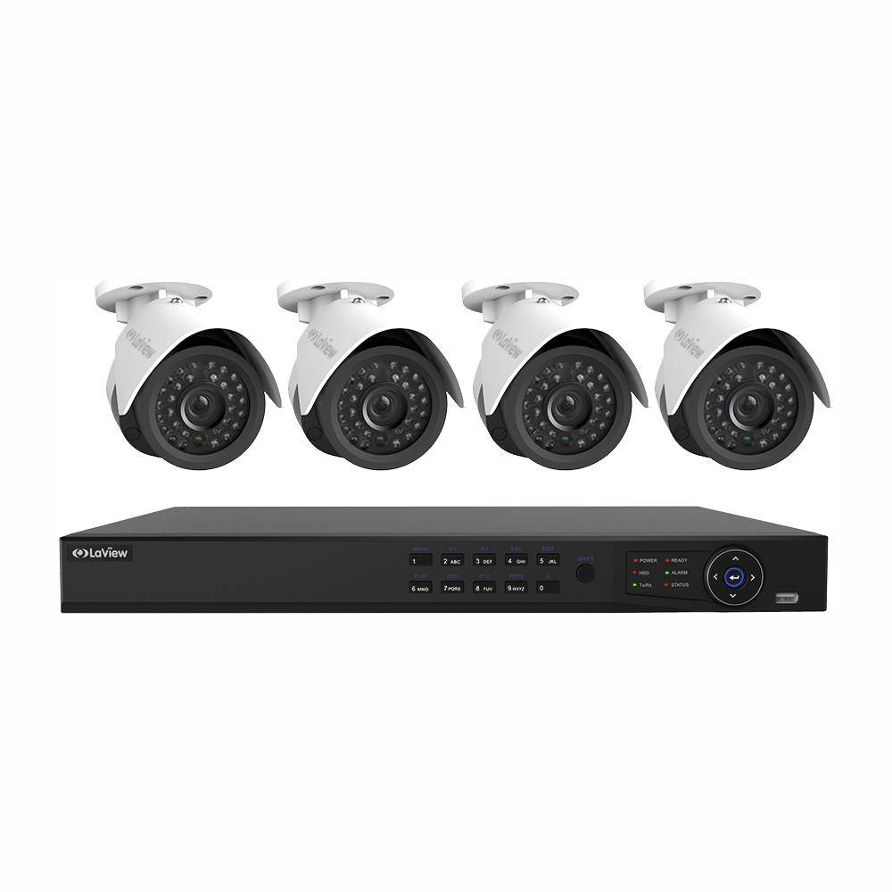LaView 8-Channel Full HD IP Indoor/Outdoor Surveillance 2TB NVR System with (4) 1080P Cameras Free Remote View & Motion Record