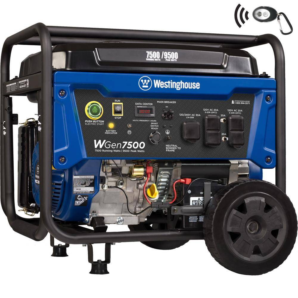 Westinghouse WGen7500 9,500/7,500 Watt Gas Powered Portable Generator with Remote Start and Transfer Switch Outlet for Home Backup