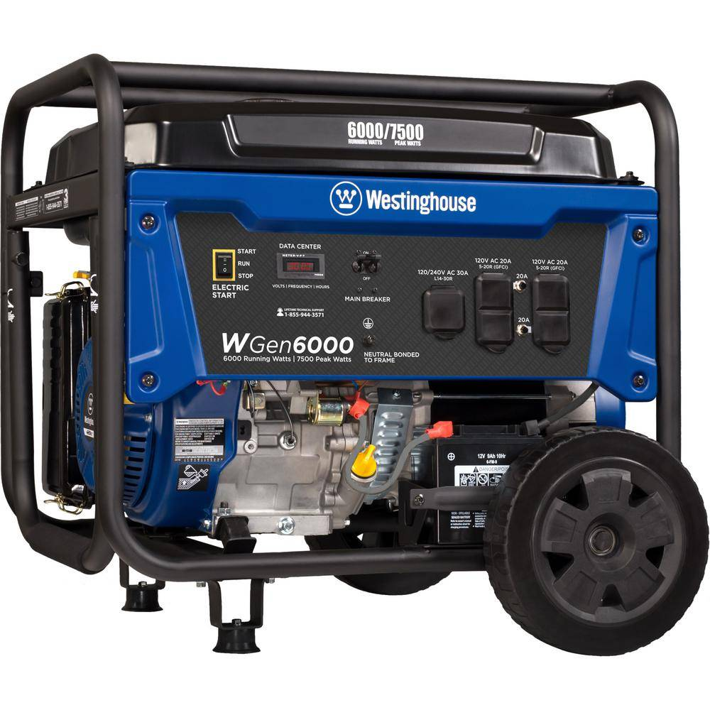 Westinghouse WGen6000 7,500/6,000-Watt Gas Powered Portable Generator with Electric Start and Transfer Switch Outlet for Home Backup