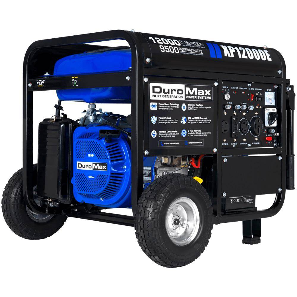DUROMAX 12,000-Watt/9,500-Watt Electric Start Gasoline Powered Portable Generator, Home Backup and RV Ready, 50 States Approved