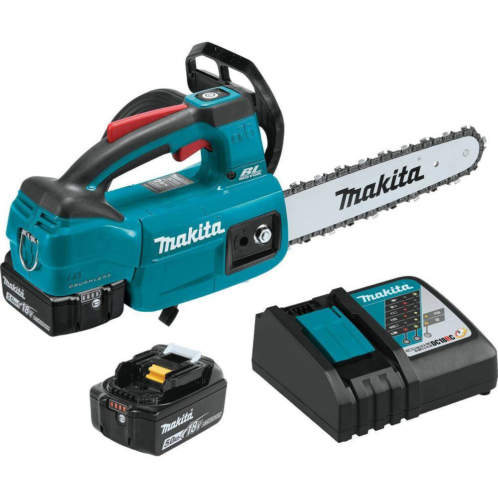 Makita 10 in. 5.0 Ah 18-Volt LXT Lithium-Ion Brushless Cordless Chain Saw Kit