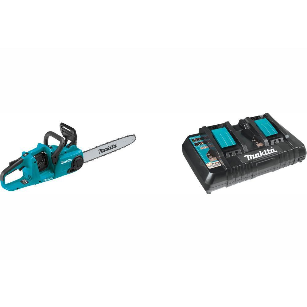 Makita 16 in. 18-Volt X2 (36-Volt) LXT Brushless Cordless Chain Saw with Bonus 18-Volt LXT Dual Port Rapid Optimum Charger