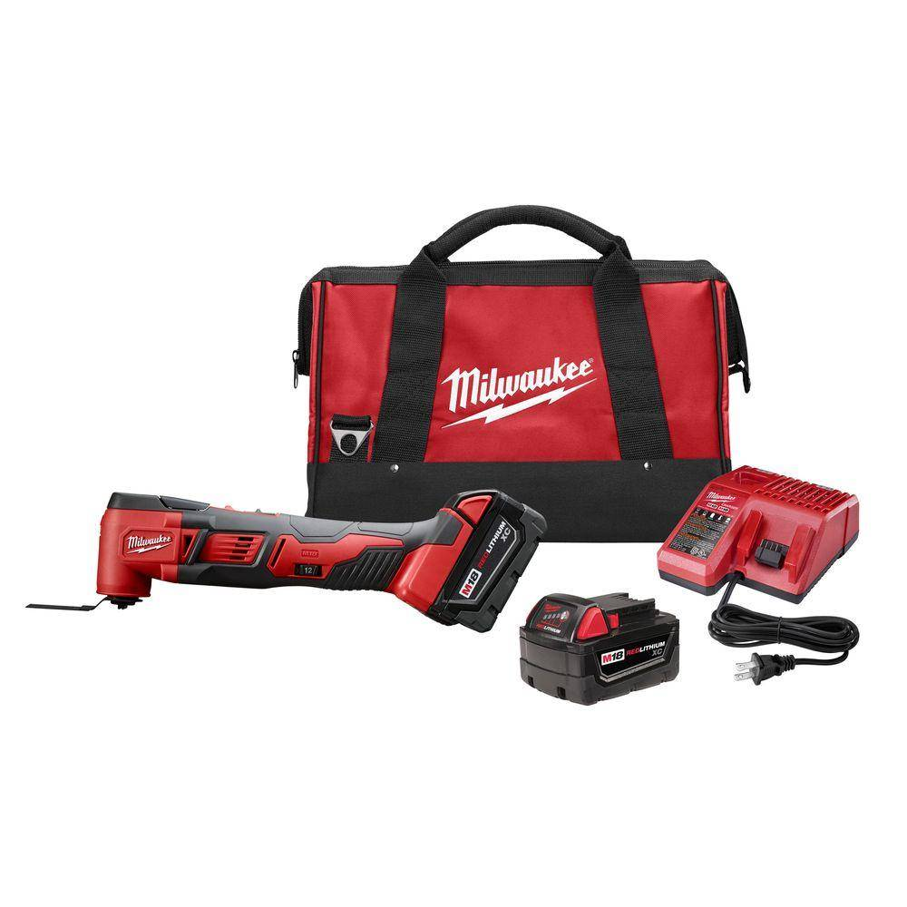 Milwaukee M18 18-Volt Lithium-Ion Cordless Oscillating Multi-Tool Kit with Two 3.0Ah Batteries, Accessories, Charger, Bag