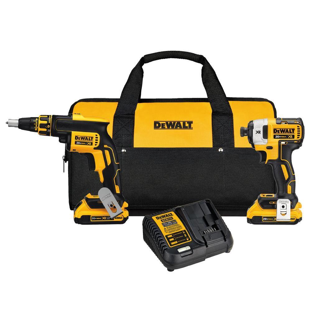 DEWALT 20-Volt MAX XR Cordless Drywall Screw Gun/Impact Driver Combo Kit (2-Tool) with (2) 20-Volt 2.0Ah Batteries & Charger
