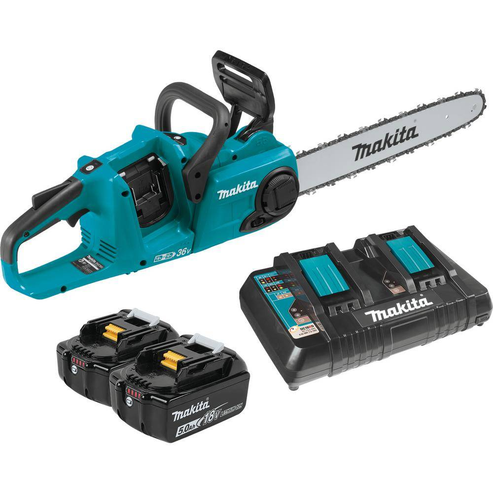 Makita 16 in. 18-Volt X2 (36-Volt) LXT Lithium-Ion Brushless Cordless Chain Saw Kit (5.0Ah)