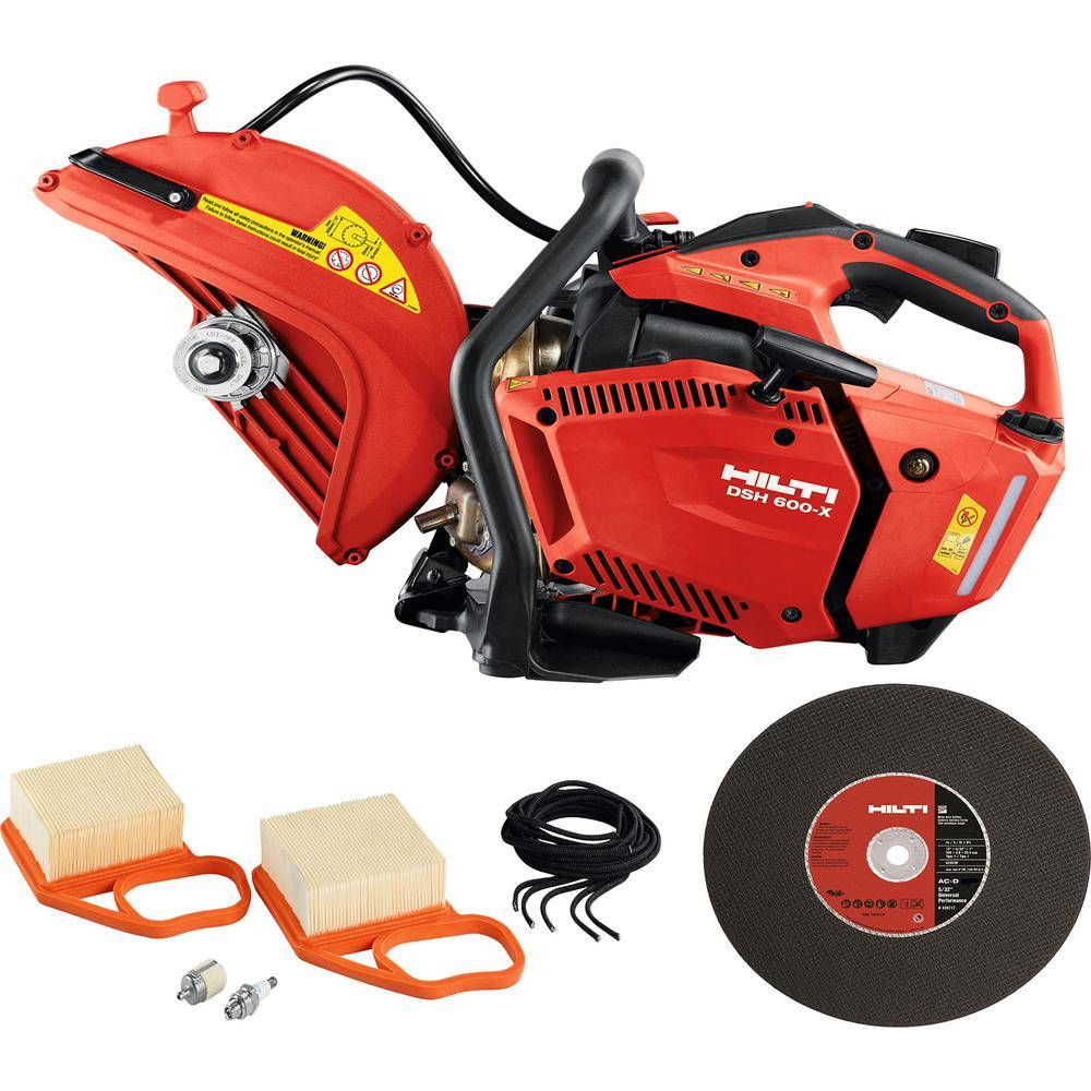 Hilti DSH 600-X 12 in. Hand Held Gas Saw with 12 in. x 5/32 in. Abrasive Metal Deck Cutting Blades/Discs (10-Pack)