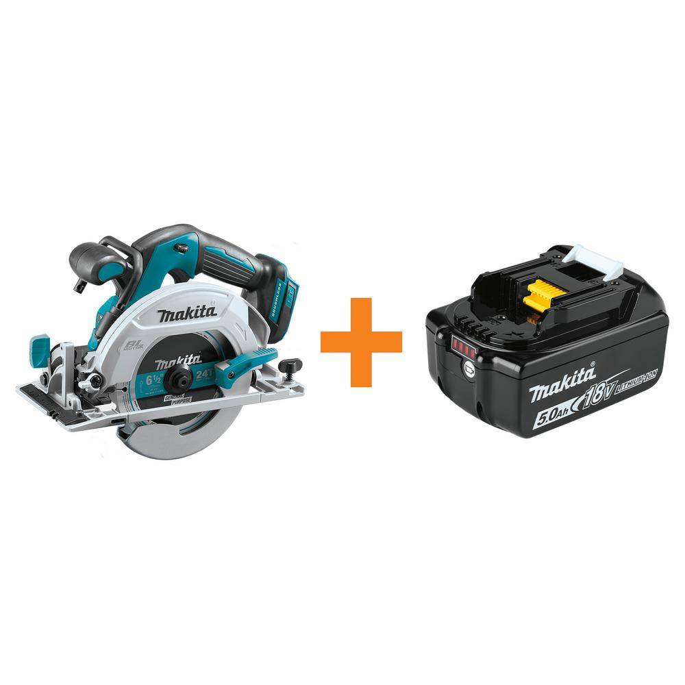Makita 6-1/2 in. 18-Volt LXT Lithium-Ion Brushless Cordless Circular Saw Tool-Only with Bonus 18-Volt LXT 5.0 Ah Battery