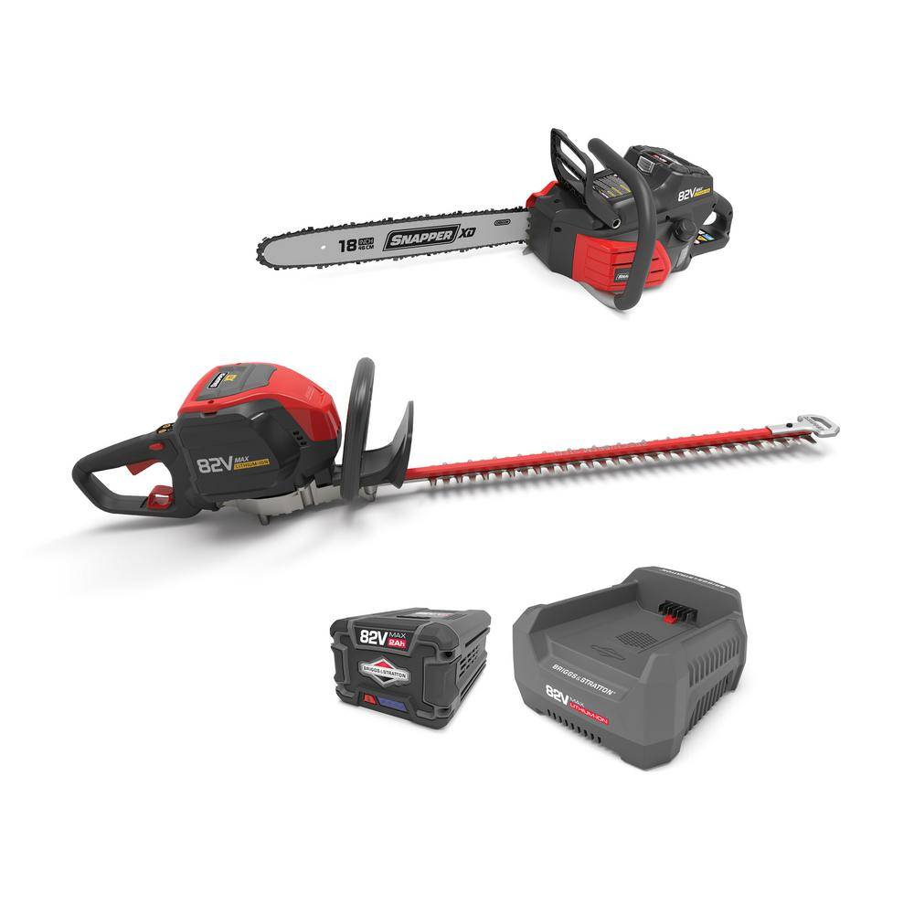 Snapper XD 82-Volt MAX Cordless Electric Wood Bundle with Chainsaw, Hedge Trimmer, and (1) 2.0 Battery and (1) Rapid Charger