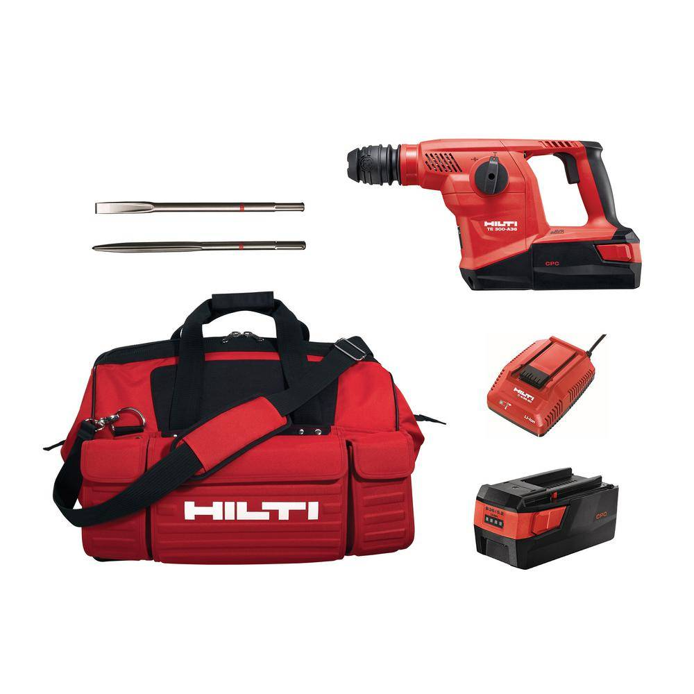 Hilti 36-Volt SDS Plus TE 300-A36 Lithium-Ion Cordless Brushless Hammer/Chipper Kit with Active Vibration Reduction (AVR)