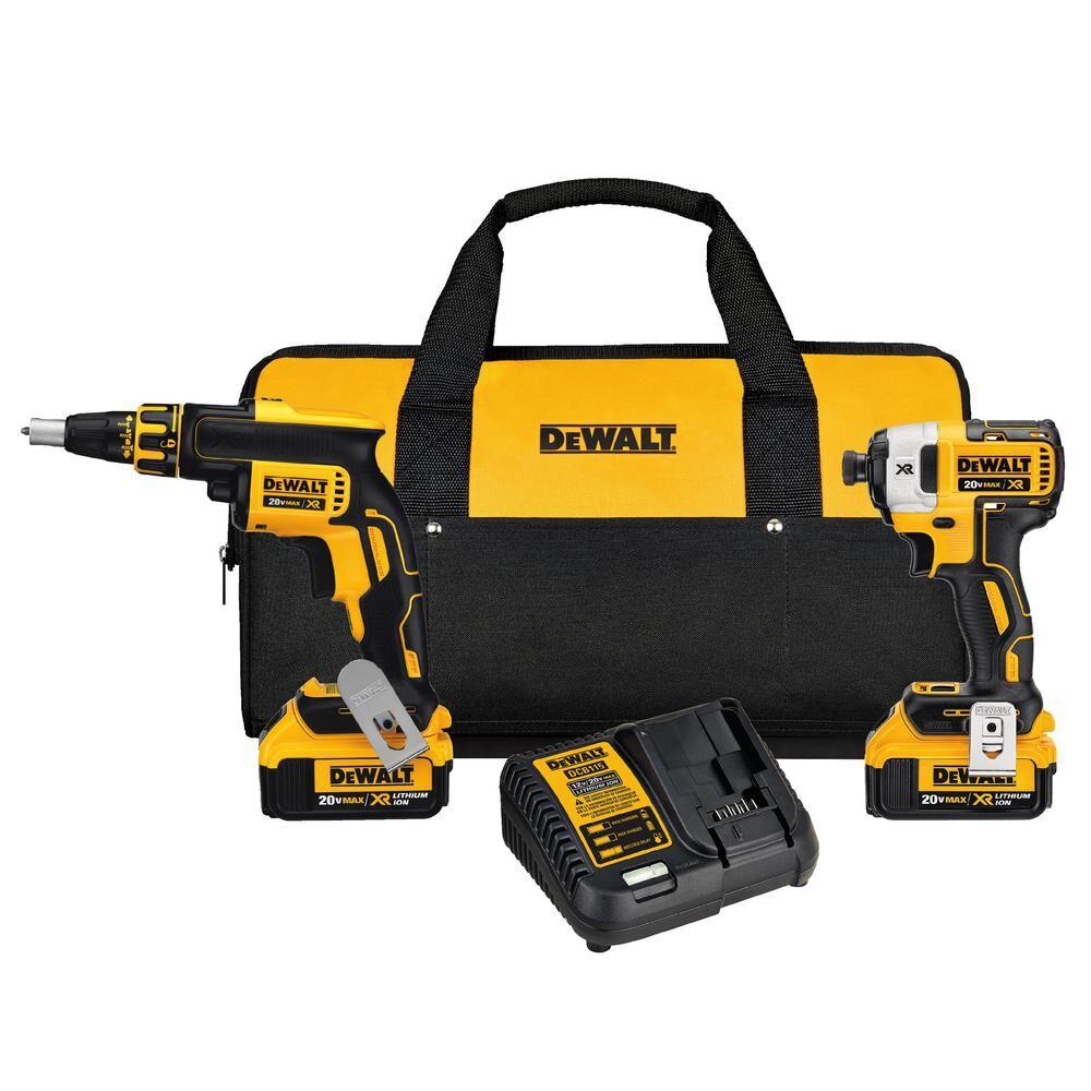 DEWALT 20-Volt MAX XR Cordless Drywall Screw Gun/Impact Driver Combo Kit (2-Tool) with (2) 20-Volt 4.0Ah Batteries & Charger