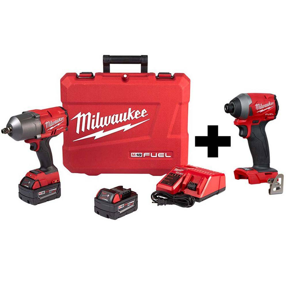 Milwaukee M18 FUEL 18-Volt Lithium-Ion Brushless Cordless 1/2 in. Impact Wrench with Friction Ring Kit W/ FUEL Impact Driver