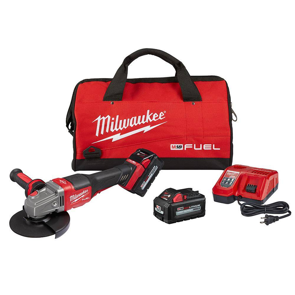Milwaukee M18 FUEL 18-Volt Lithium-Ion Brushless Cordless 4-1/2 in./6 in. Grinder with Paddle Switch Kit and Two 6.0 Ah Battery