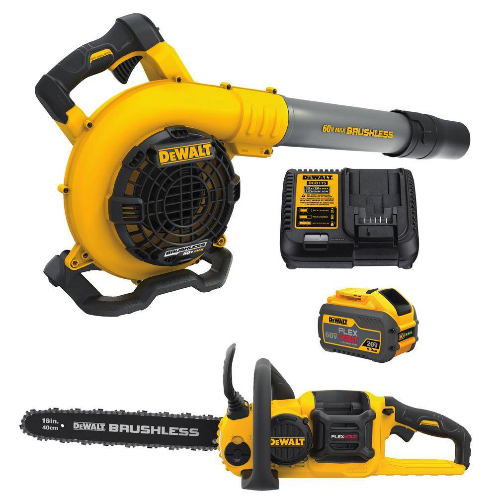 DEWALT 60V MAX Cordless FLEXVOLT Chainsaw with Blower Combo Kit (2-Tool) with (1) 9.0Ah Battery and Charger Included