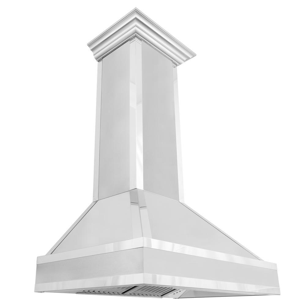 ZLINE Kitchen and Bath ZLINE 36 in. Designer Series Wall Mount Range Hood in DuraSnow Stainless Steel with Mirror Accents, DuraSnow® Stainless Steel with Mirror Accents