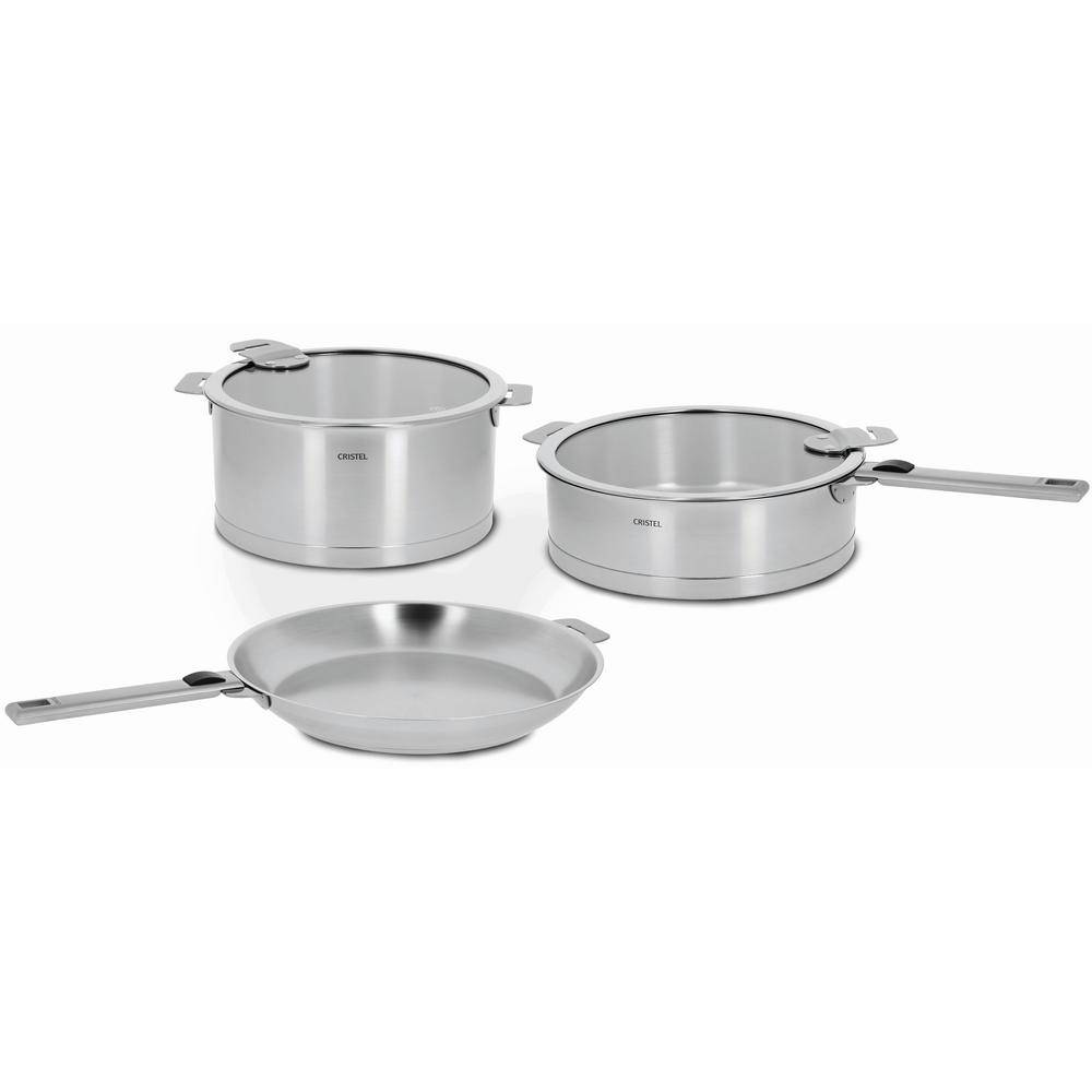 Cristel Strate 7-Piece Stainless Cookware Set with Lids, Silver