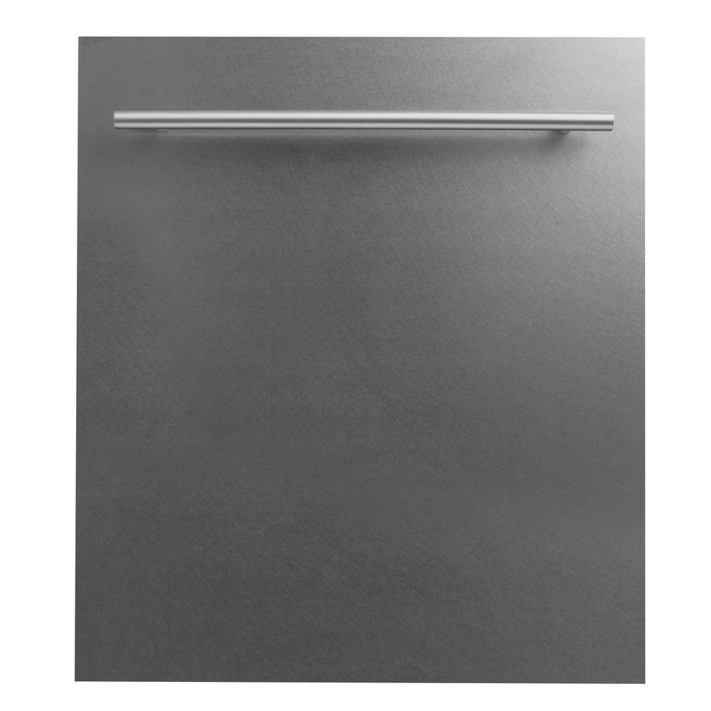 ZLINE Kitchen and Bath 24 in. Top Control Dishwasher in DuraSnow® Finished Stainless Steel with Stainless Steel Tub and Modern Style Handle