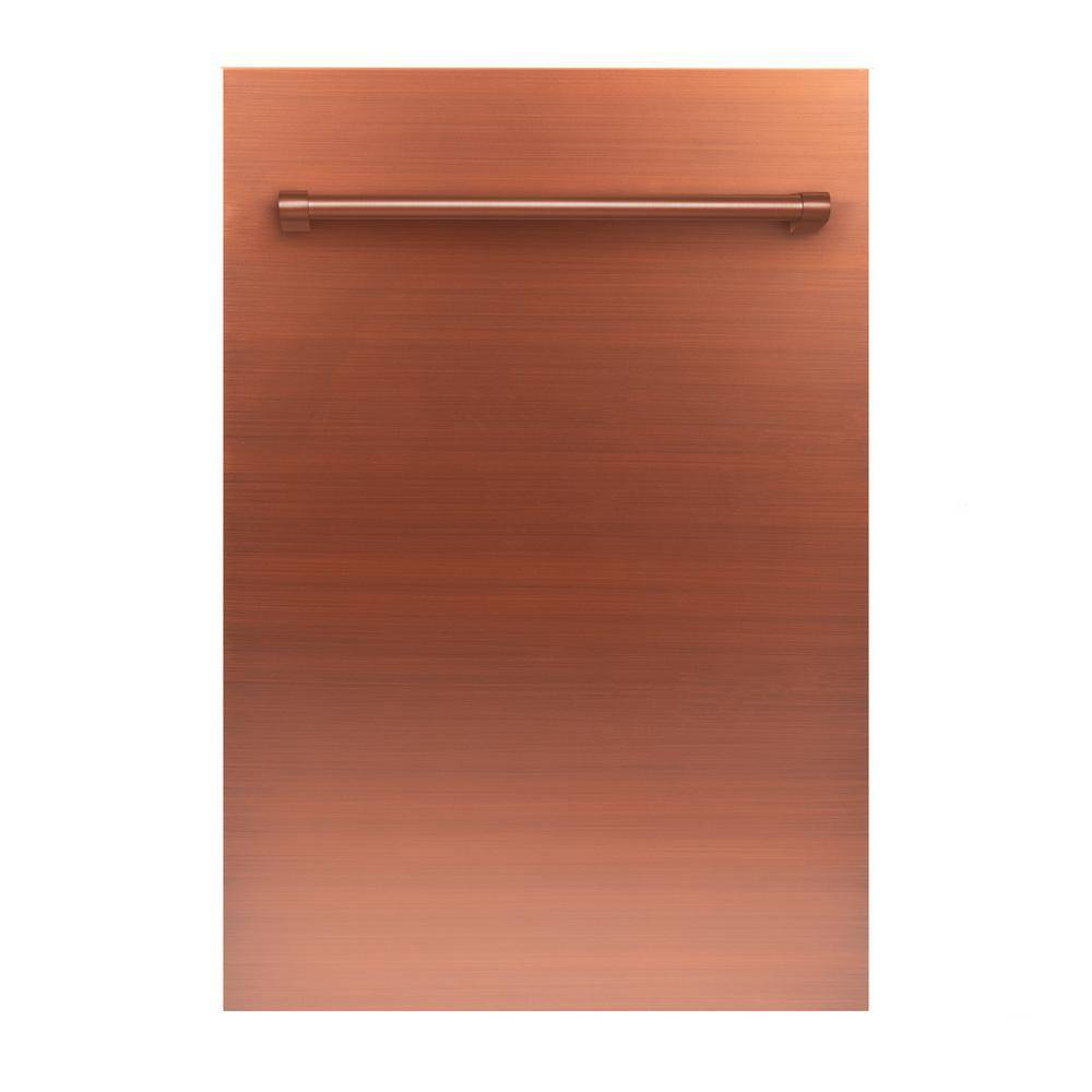 ZLINE Kitchen and Bath 18 in. Top Control Dishwasher in Copper with Stainless Steel Tub and Traditional Style Handle, ENERGY STAR
