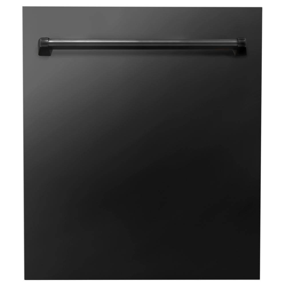 ZLINE Kitchen and Bath 24 in. Black Stainless Steel Top Control Dishwasher with Stainless Steel Tub