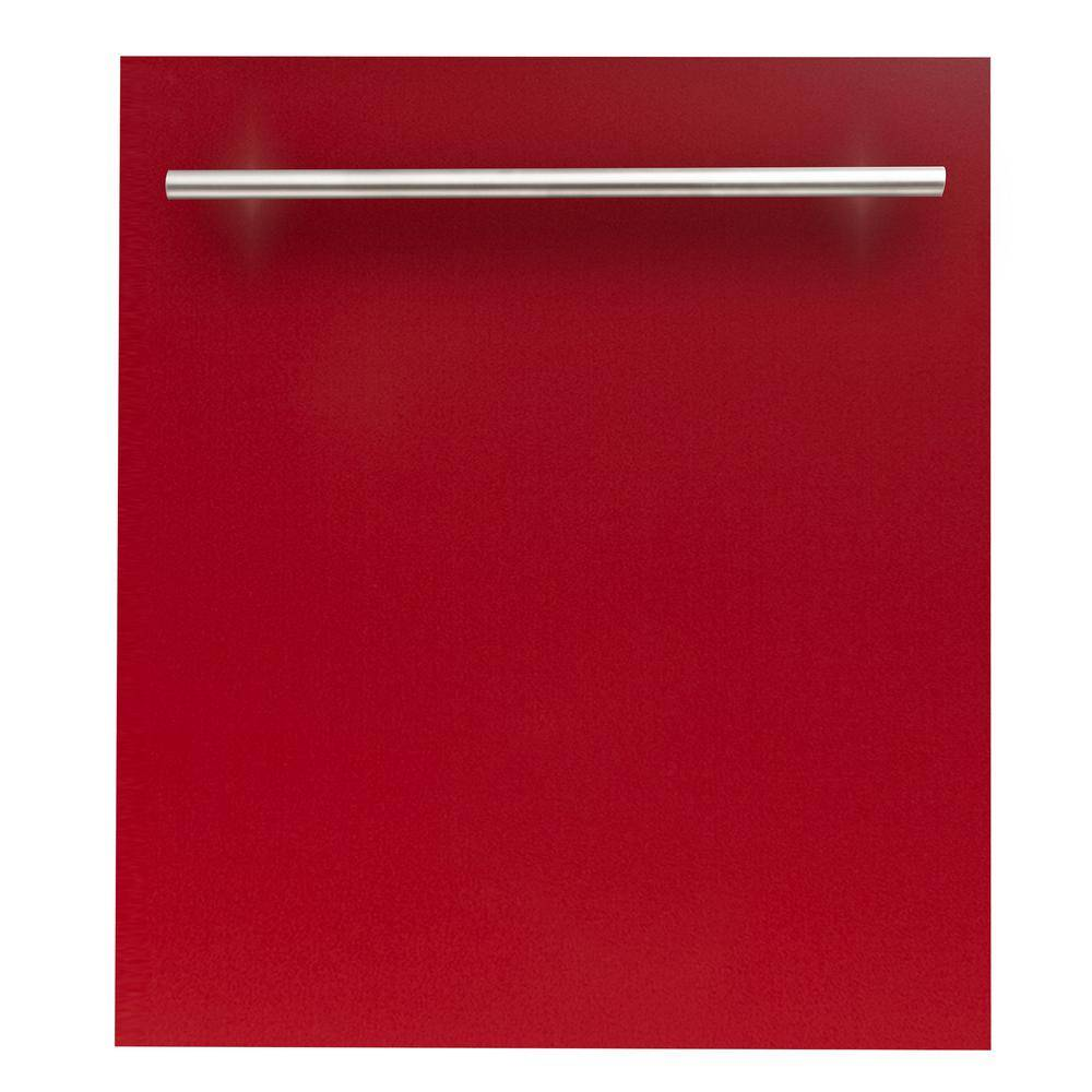 ZLINE Kitchen and Bath 24 in. Top Control Dishwasher in Red Gloss with Stainless Steel Tub and Modern Style Handle, ENERGY STAR